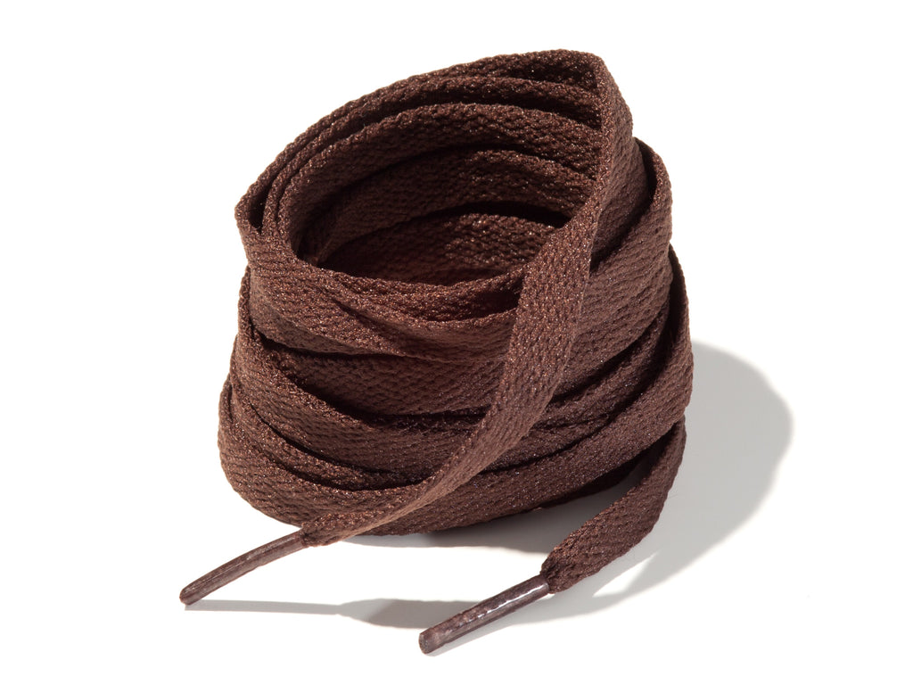 Brown 8mm Flat Solid Colour Laces