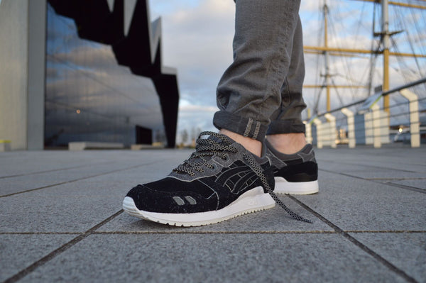 Asics x Size? Dark Side Of The Moon Black 3m Flat Lace Supply Co. Lace Swap