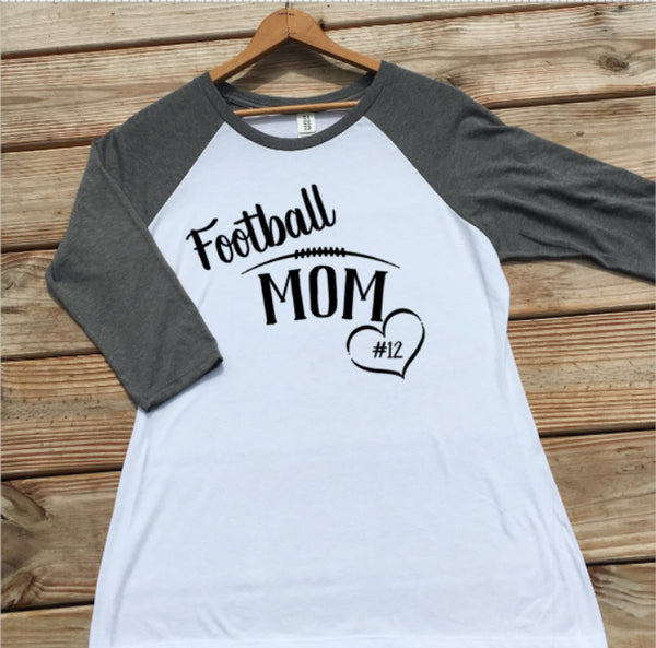 Personalized football mom raglan rg74w foreverstrong apparel for Custom raglan baseball shirt