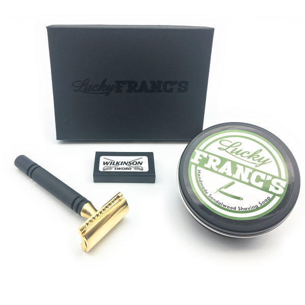 Black & Gold Double Edge Safety Razor with Sandalwood Shave Soap
