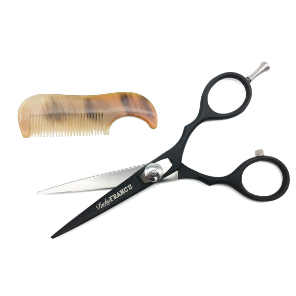 Beard & Mustache Grooming Set w/ trimming scissors and real horn comb