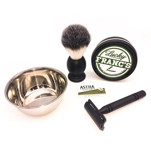 Complete Wet Shave Kit - All Black Razor Set