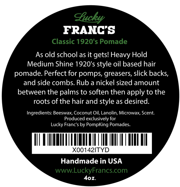 Original 1920's Hair Pomade - Oil Based Heavy Hold Medium Shine - 4 oz. Tin LIMITED EDITION