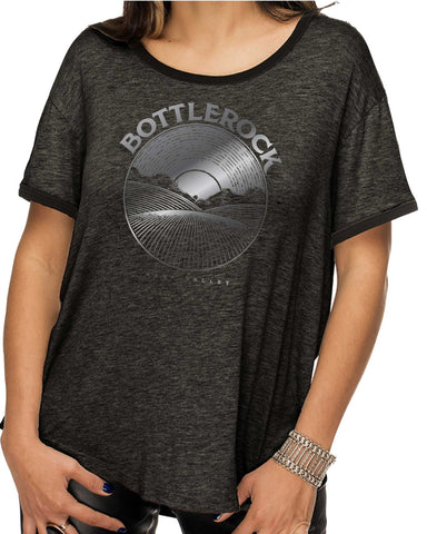 Record Foil Women's Charcoal Heather Relaxed Ringer Tee