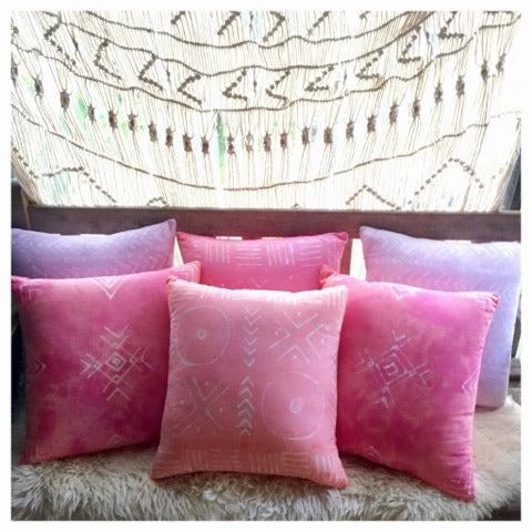 *                              Pink MudCloth Pillows     *