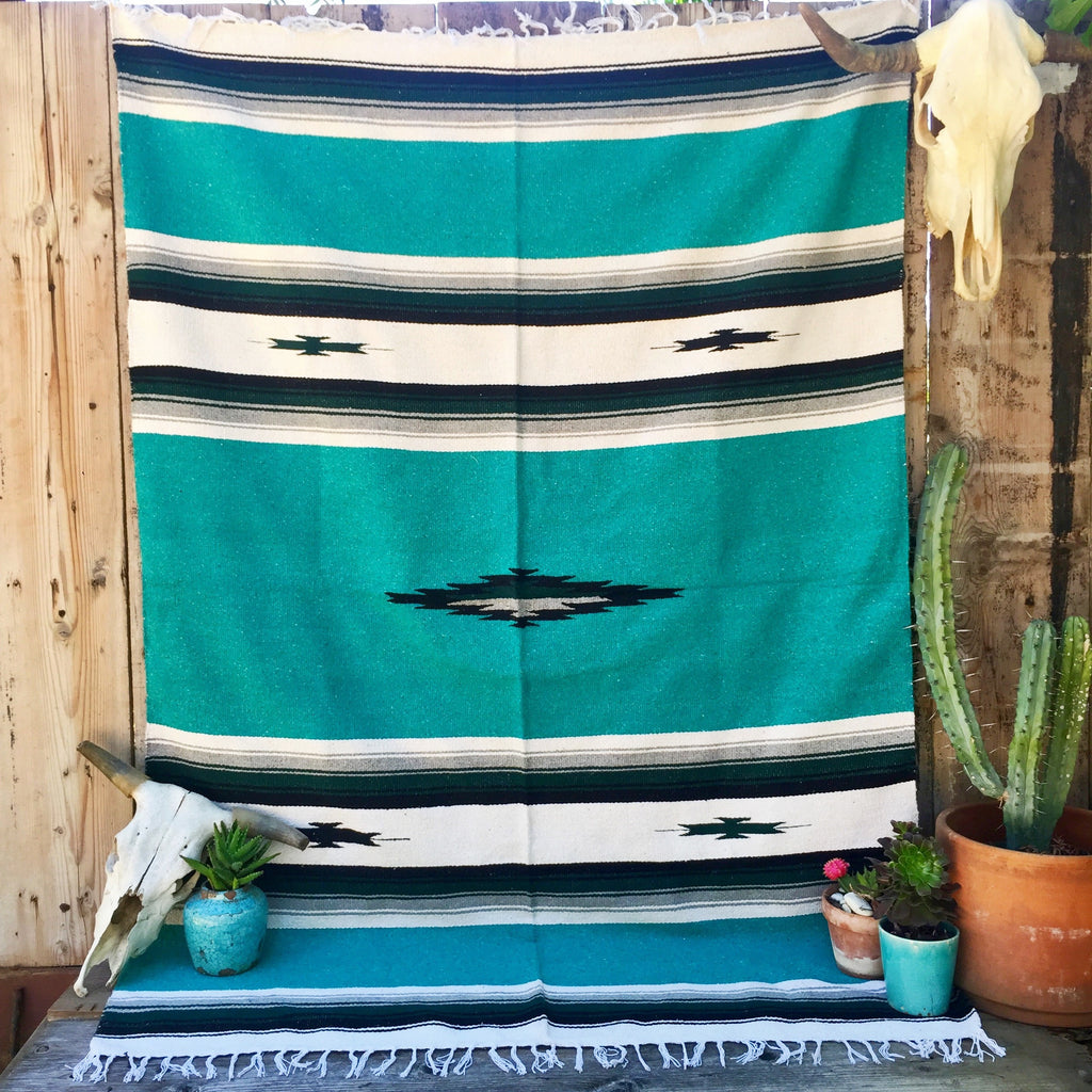 Diamond Mexicana Blanket (Turquoise )