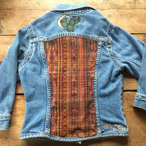 little girls vintage levi jacket, recycled denim, it fabric, handgun, cactus art