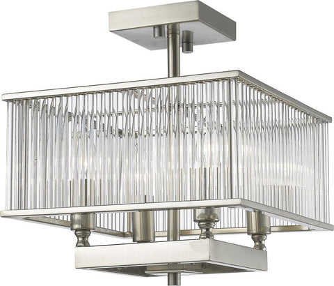 Z-Lite 1000-12BN 4 Light Semi Flush Mount Zalo Collection Clear Finish - ZLiteStore