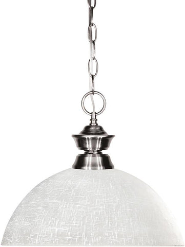 Z-Lite 100701BN-DWL14 1 Light Pendant Shark Collection Dome White Linen Finish - ZLiteStore