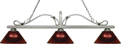 Z-Lite 114-3AS-ARBG 3 Light Billiard Light Melrose Collection Burgundy Finish - ZLiteStore