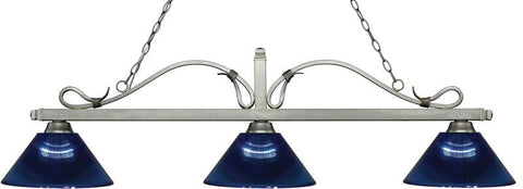 Z-Lite 114-3AS-ARDB 3 Light Billiard Light Melrose Collection Dark Blue Finish - ZLiteStore