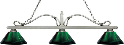 Z-Lite 114-3AS-ARG 3 Light Billiard Light Melrose Collection Green Finish - ZLiteStore
