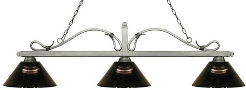 Z-Lite 114-3AS-ARS 3 Light Billiard Light Melrose Collection Smoke Finish - ZLiteStore