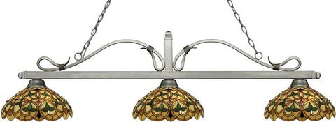 Z-Lite 114-3AS-C14 3 Light Billiard Light Melrose Collection Multi Colored Tiffany Finish - ZLiteStore