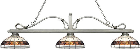 Z-Lite 114-3AS-F14-1 3 Light Billiard Light Melrose Collection Multi Colored Tiffany Finish - ZLiteStore