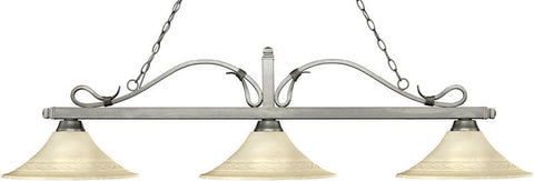Z-Lite 114-3AS-FGM16 3 Light Billiard Light Melrose Collection Fluted Golden Mottle Finish - ZLiteStore