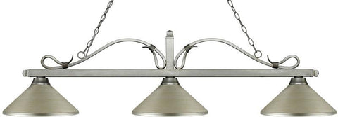 Z-Lite 114-3AS-MAS 3 Light Billiard Light Melrose Collection Antique Silver Finish - ZLiteStore