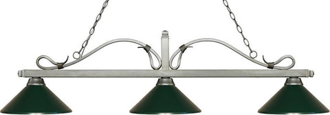 Z-Lite 114-3AS-MDG 3 Light Billiard Light Melrose Collection Dark Green Finish - ZLiteStore