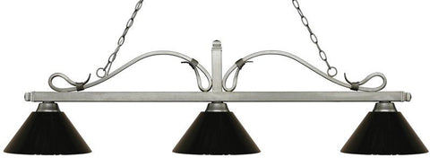 Z-Lite 114-3AS-PBK 3 Light Billiard Light Melrose Collection Black Finish - ZLiteStore