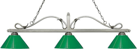 Z-Lite 114-3AS-PGR 3 Light Billiard Light Melrose Collection Green Finish - ZLiteStore