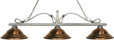 Z-Lite 114-3AS-SAC 3 Light Billiard Light Melrose Collection Stepped Antique Copper Finish - ZLiteStore