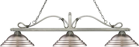 Z-Lite 114-3AS-SBN 3 Light Billiard Light Melrose Collection Stepped Brushed Nickel Finish - ZLiteStore