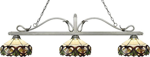 Z-Lite 114-3AS-Z14-33 3 Light Billiard Light Melrose Collection Multi Colored Tiffany Finish - ZLiteStore
