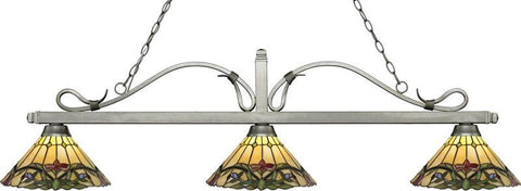 Z-Lite 114-3AS-Z14-49 3 Light Billiard Light Melrose Collection Multi Colored Tiffany Finish - ZLiteStore