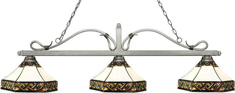 Z-Lite 114-3AS-Z16-30 3 Light Billiard Light Melrose Collection Multi Colored Tiffany Finish - ZLiteStore
