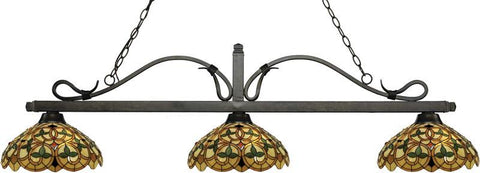 Z-Lite 114-3GB-C14 3 Light Billiard Light Melrose Collection Multi Colored Tiffany Finish - ZLiteStore
