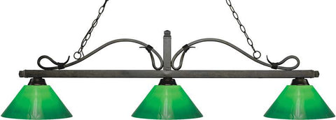 Z-Lite 114-3GB-GCG14 3 Light Billiard Light Melrose Collection Green Cased Finish - ZLiteStore