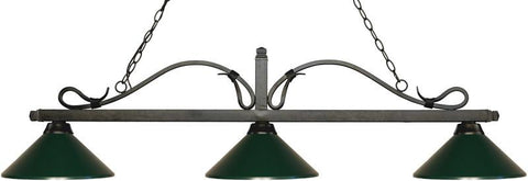 Z-Lite 114-3GB-MDG 3 Light Billiard Light Melrose Collection Dark Green Finish - ZLiteStore