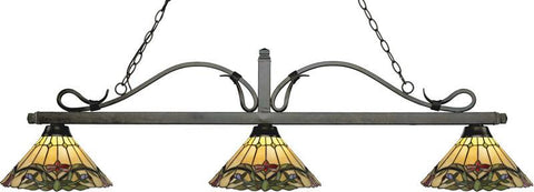 Z-Lite 114-3GB-Z14-49 3 Light Billiard Light Melrose Collection Multi Colored Tiffany Finish - ZLiteStore