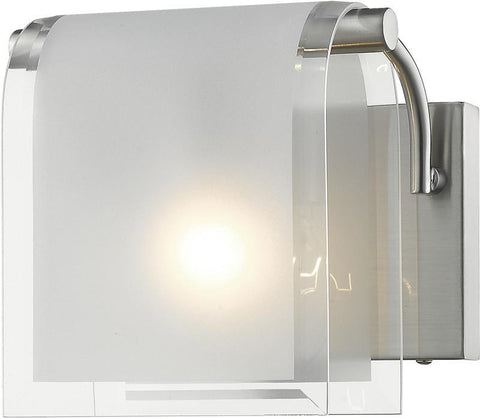 Z-Lite 169-1S-BN 1 Light Wall Sconce Zephyr Collection Clear Beveled+Frosted Finish - ZLiteStore