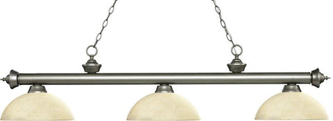 Z-Lite 200-3AS-AGM14 3 Light Billiard Light Riviera Antique Silver Collection Angle Golden Mottle Finish - ZLiteStore