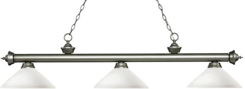 Z-Lite 200-3AS-AMO14 3 Light Billiard Light Riviera Antique Silver Collection Angle Matte Opal Finish - ZLiteStore