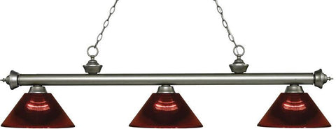 Z-Lite 200-3AS-ARBG 3 Light Billiard Light Riviera Antique Silver Collection Burgundy Finish - ZLiteStore