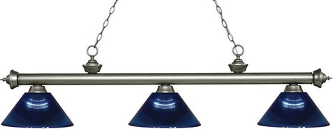 Z-Lite 200-3AS-ARDB 3 Light Billiard Light Riviera Antique Silver Collection Dark Blue Finish - ZLiteStore