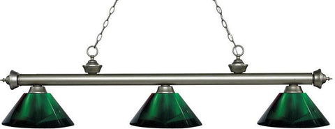Z-Lite 200-3AS-ARG 3 Light Billiard Light Riviera Antique Silver Collection Green Finish - ZLiteStore
