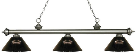Z-Lite 200-3AS-ARS 3 Light Billiard Light Riviera Antique Silver Collection Smoke Finish - ZLiteStore