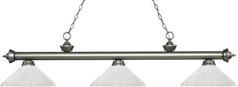 Z-Lite 200-3AS-AWL14 3 Light Billiard Light Riviera Antique Silver Collection Angle White Linen Finish - ZLiteStore