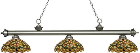 Z-Lite 200-3AS-C14 3 Light Billiard Light Riviera Antique Silver Collection Multi Colored Tiffany Finish - ZLiteStore