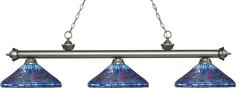 Z-Lite 200-3AS-D16-1 3 Light Billiard Light Riviera Antique Silver Collection Multi Colored Tiffany Finish - ZLiteStore