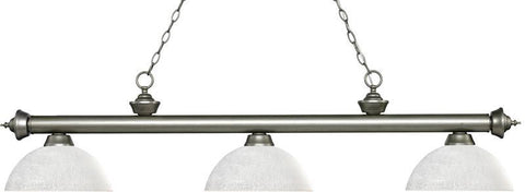 Z-Lite 200-3AS-DWL14 3 Light Billiard Light Riviera Antique Silver Collection Dome White Linen Finish - ZLiteStore