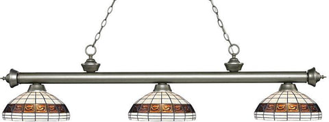 Z-Lite 200-3AS-F14-1 3 Light Billiard Light Riviera Antique Silver Collection Multi Colored Tiffany Finish - ZLiteStore