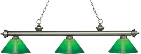 Z-Lite 200-3AS-GCG14 3 Light Billiard Light Riviera Antique Silver Collection Green Cased Finish - ZLiteStore