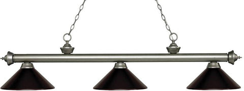 Z-Lite 200-3AS-MBRZ 3 Light Billiard Light Riviera Antique Silver Collection Bronze Finish - ZLiteStore