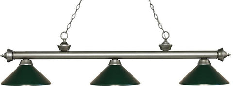 Z-Lite 200-3AS-MDG 3 Light Billiard Light Riviera Antique Silver Collection Dark Green Finish - ZLiteStore