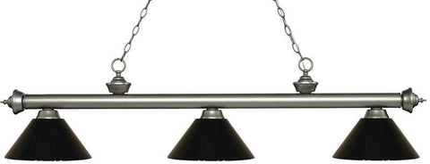 Z-Lite 200-3AS-PBK 3 Light Billiard Light Riviera Antique Silver Collection Black Finish - ZLiteStore