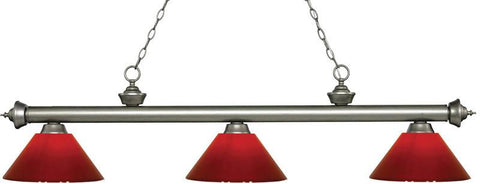 Z-Lite 200-3AS-PRD 3 Light Billiard Light Riviera Antique Silver Collection Red Finish - ZLiteStore